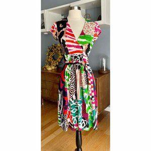 Diane Von Furstenberg Vintage JENNY Multi Print Silk Jersey Wrap Dress